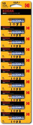 Комплект батареек Kodak MAX LR03 BL-10 отрывные (Б0005125)
