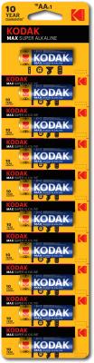 Комплект батареек Kodak MAX LR6 BL-10 отрывные (Б0005126)