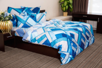 Комплект постельного белья Ночь нежна Мраморная клетка Стандарт Евро 50x70 / 7936-1 (голубой) -