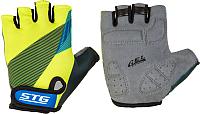 Перчатки велосипедные STG Х87910 (S, черный/салатовый/синий) -