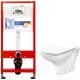 Унитаз подвесной с инсталляцией Cersanit Carina New Clean On S-MZ-CARINA-COn-S-DL-w + 9300000 -
