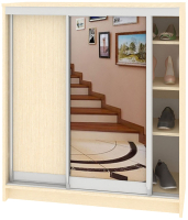 Шкаф для обуви Кортекс-мебель Сенатор ШК41 Классика ДСП с зеркалом (венге светлый) -