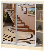 Шкаф для обуви Кортекс-мебель Сенатор ШК41 Классика зеркало (венге светлый) -