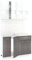 Готовая кухня Кортекс-мебель Корнелия Экстра 1.1м (белый/береза/королевский опал) -