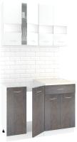 Готовая кухня Кортекс-мебель Корнелия Экстра 1.1м (белый/береза/марсель) -