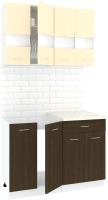 Готовая кухня Кортекс-мебель Корнелия Экстра 1.1м (венге светлый/венге/королевский опал) -