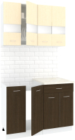 Готовая кухня Кортекс-мебель Корнелия Экстра 1.1м (венге светлый/венге/марсель) -