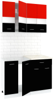 Готовая кухня Кортекс-мебель Корнелия Экстра 1.1м (красный/черный/мадрид) -