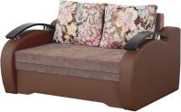 Диван Мебельград Френд 2 Стандарт (флок цветы коричневый/альба свело коричневый/домус шоколад) -