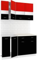 Готовая кухня Кортекс-мебель Корнелия Экстра 1.4м (красный/черный/мадрид) -