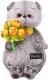 Мягкая игрушка Budi Basa Басик с букетом оранжевых пионов / Ks22-117 -