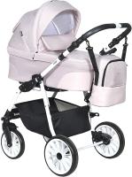 Детская универсальная коляска INDIGO Alpina + F 3 в 1 (Al 02, светло-розовый/светло-розовая кожа) -