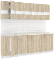 Готовая кухня Кортекс-мебель Корнелия Экстра 2.2м (дуб сонома/королевский опал) -