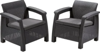 Комплект садовой мебели Keter Corfu II Duo / 223175 (графит) -