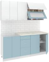 Готовая кухня Кортекс-мебель Корнелия Мара 1.8м (белый/голубой/королевский опал) -