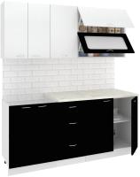 Готовая кухня Кортекс-мебель Корнелия Мара 1.8м (белый/черный/королевский опал) -