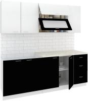 Готовая кухня Кортекс-мебель Корнелия Мара 2.0м (белый/черный/марсель) -
