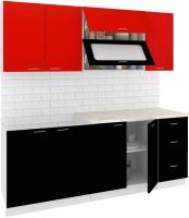 Готовая кухня Кортекс-мебель Корнелия Мара 2.0м (красный/черный/марсель) -
