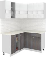 Готовая кухня Кортекс-мебель Корнелия Экстра 1.5x1.4м (белый/береза/марсель) -