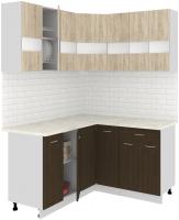 Готовая кухня Кортекс-мебель Корнелия Экстра 1.5x1.4м (дуб сонома/венге/марсель) -