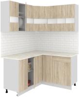 Готовая кухня Кортекс-мебель Корнелия Экстра 1.5x1.4м (дуб сонома/марсель) -