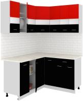 Готовая кухня Кортекс-мебель Корнелия Экстра 1.5x1.4м (красный/черный/марсель) -