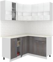 Готовая кухня Кортекс-мебель Корнелия Экстра 1.5x1.5м (белый/береза/королевский опал) -