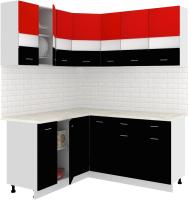 Готовая кухня Кортекс-мебель Корнелия Экстра 1.5x1.7м (красный/черный/мадрид) -