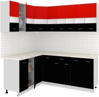 Готовая кухня Кортекс-мебель Корнелия Экстра 1.5x2.0м (красный/черный/мадрид) -