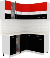 Готовая кухня Кортекс-мебель Корнелия Экстра 1.5x1.5м (красный/черный/мадрид) -