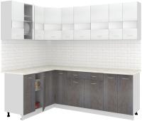 Готовая кухня Кортекс-мебель Корнелия Экстра 1.5x2.3м (белый/береза/королевский опал) -