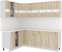 Готовая кухня Кортекс-мебель Корнелия Экстра 1.5x2.3м (дуб сонома/королевский опал) -