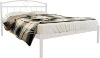 Полуторная кровать Князев Мебель Люмия ЛЯ.140.190.Б (белый муар) -