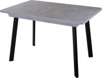 Обеденный стол Домотека Джаз ПР-1 80x120-157 (серый бетон/черный/93) -
