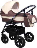 Детская универсальная коляска Alis Berta 20 F 3 в 1 (Be 22, коричневый/светло-бежевый) -