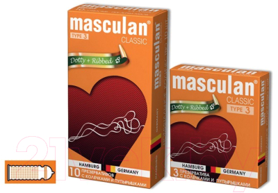 Презервативы Masculan Classic-3 с колечками и пупырышками №10