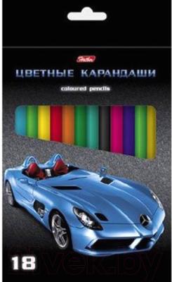 Набор цветных карандашей Hatber Машинки / Кс18 04