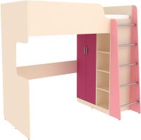 Кровать-чердак Уют Сервис Дарина УК03 (песок/розовый) -