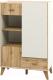 Шкаф с витриной Мебель-Неман Сканди МН-036-08 (дуб вотан/белый) -
