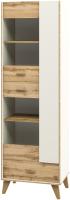 Шкаф с витриной Мебель-Неман Сканди МН-036-10 (дуб вотан/белый) -