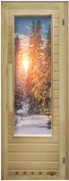 Деревянная дверь для бани Doorwood Элит Зима с вентиляцией 184х72 -