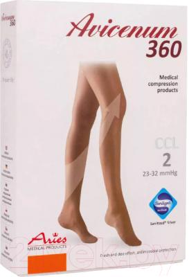Чулки компрессионные Aries Avicenum 360 с резинкой и открытым носком / 9999 (S+, normal)