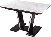 Обеденный стол Домотека Блюз ПР-1 80x120-159 (белый мрамор/венге/03) -