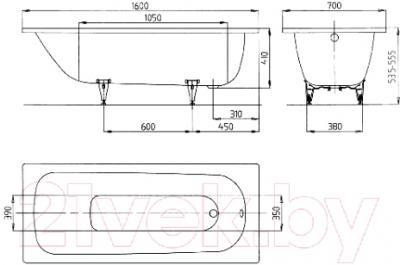 Ванна стальная Kaldewei Saniform Plus 362-1 160x70