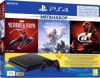 Игровая приставка Sony PlayStation 4 1TB + GTS/HZD CE/SpiderM / PS719391302 (PS+3M) -