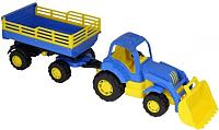 Трактор игрушечный Полесье Крепыш №2 с прицепом и ковшом / 44808 -