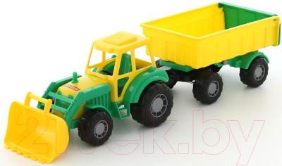 Трактор игрушечный Полесье Мастер №1 с прицепом и ковшом / 35264 - товар по цвету не маркируется