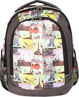 Школьный рюкзак Galanteya 48516 / 9с1352к45 (серо-коричневый/цветной) -