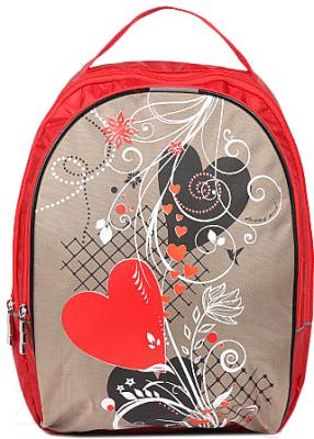 Школьный рюкзак Galanteya 57518 / 9с1807к45 (красный/бежевый)