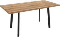 Обеденный стол Listvig Hagen 140 (дуб канзас/чёрный) -
